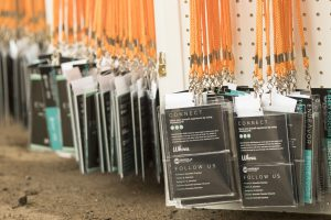 Close up shot of the lanyards endeavor summit attendees wear